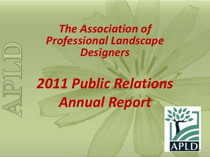 The Association Of Professional Landscape Designers Annual PR Review