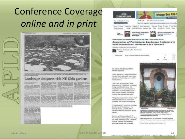 Conference Coverage Online And In Print11/17/2011 Garden Media Group 22 ...