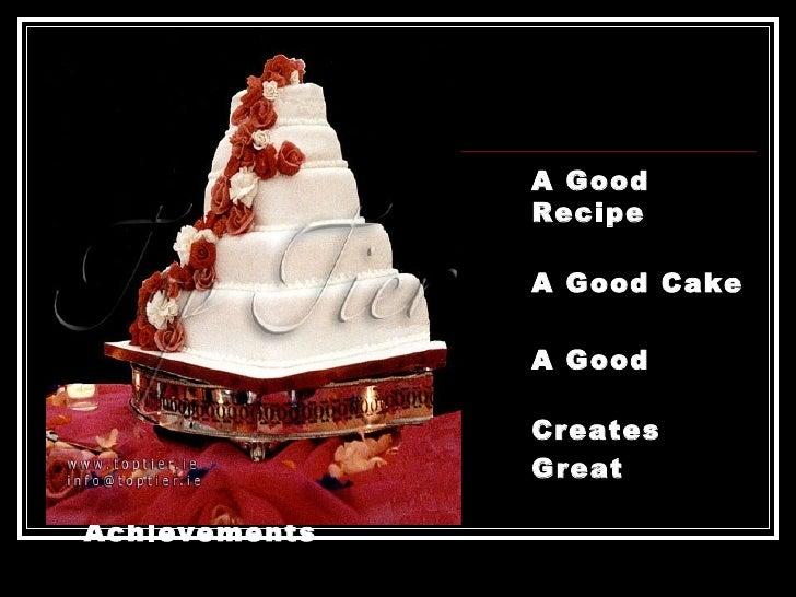 <ul><li>A Good  Recipe Bakes </li></ul><ul><li>A Good Cake </li></ul><ul><li>A Good Team </li></ul><ul><li>Creates </li></...