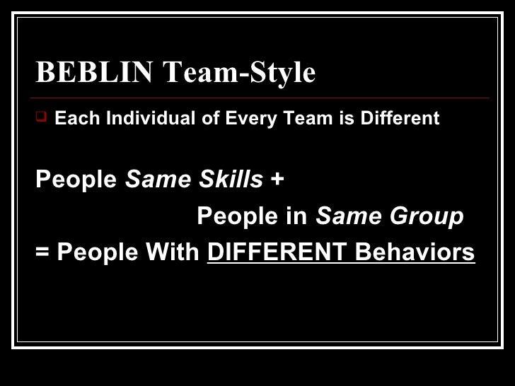 BEBLIN Team-Style <ul><li>Each Individual of Every Team is Different </li></ul><ul><li>People  Same Skills  + </li></ul><u...
