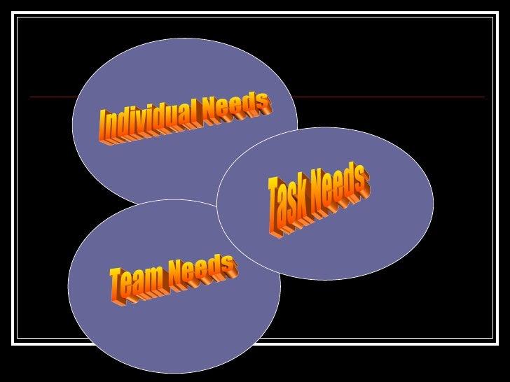 Task Needs Team Needs Individual Needs
