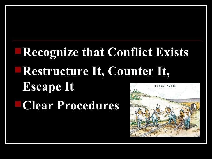 <ul><li>Recognize that Conflict Exists </li></ul><ul><li>Restructure It, Counter It, Escape It </li></ul><ul><li>Clear Pro...