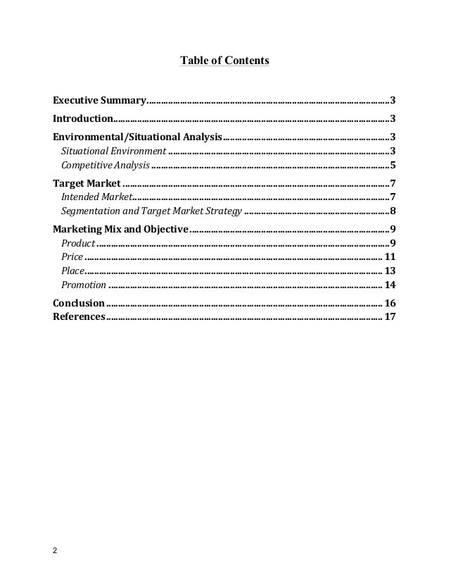 Rush brush marketing plan project - Marketing plan table of contents ...