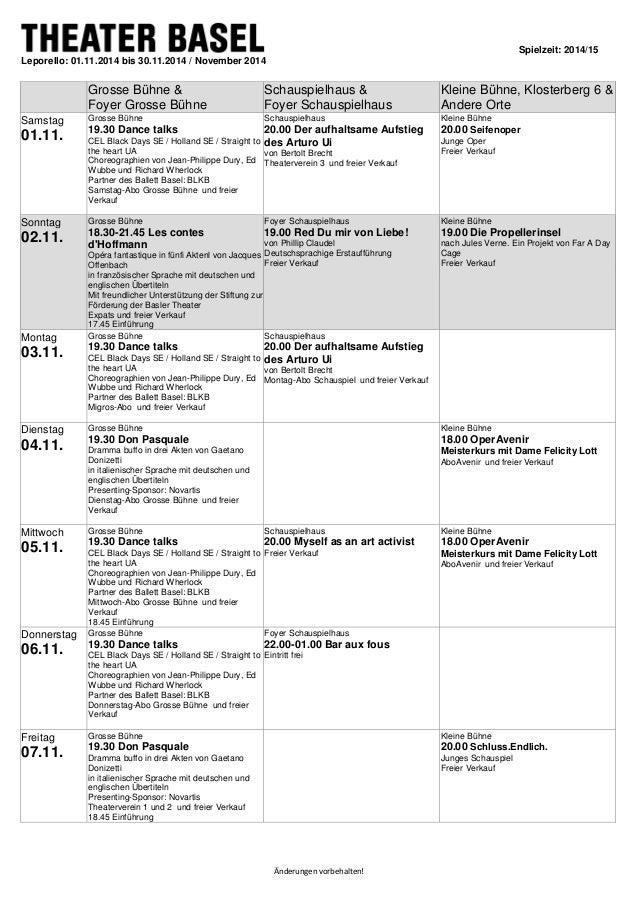Spielzeit: 2014/15  Änderungen vorbehalten!  Leporello: 01.11.2014 bis 30.11.2014 / November 2014  Grosse Bühne &  Foyer G...