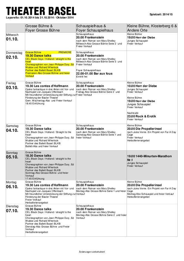 Spielzeit: 2014/15  Änderungen vorbehalten!  Leporello: 01.10.2014 bis 31.10.2014 / Oktober 2014  Grosse Bühne &  Foyer Gr...