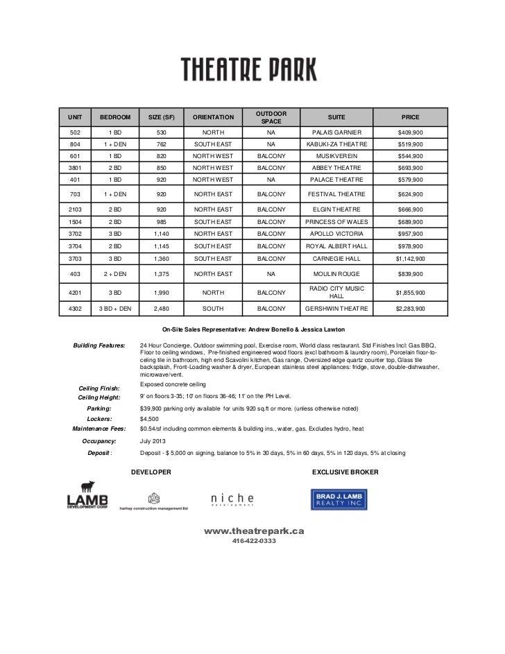 Theater October 7 11 Sample Price List