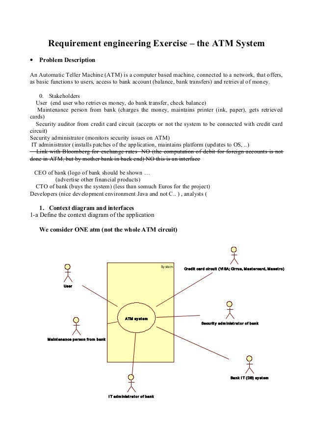 Requirement engineering Exercise – the ATM System • Problem Description An Automatic Teller Machine (ATM) is a computer ba...