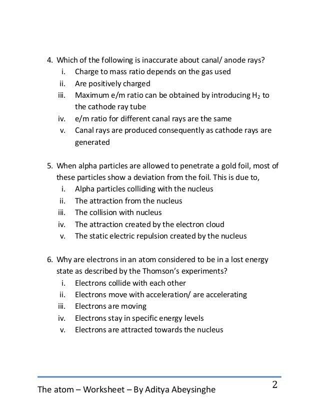 2. The Atom U2013 Worksheet ...