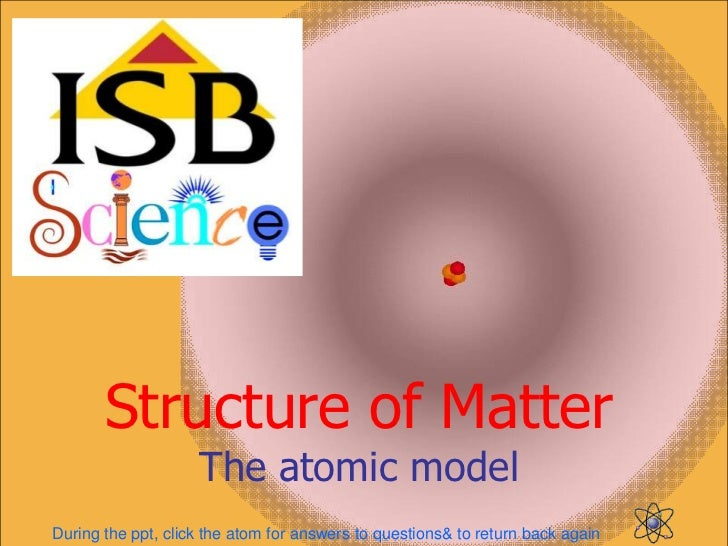 Structure of Matter                    The atomic modelDuring the ppt, click the atom for answers to questions& to return ...