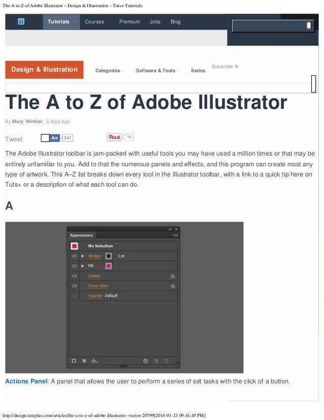 The A to Z of Adobe Illustrator – Design & Illustration – Tuts+ Tutorials  Tutorials    Courses    Premium  Jobs     B...