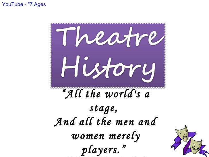 """ All the world's a stage,  And all the men and women merely players.""  SHAKESPEARE,  As You Like It YouTube - ""7 Age..."