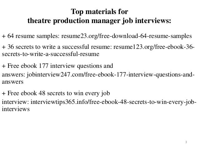 Theatre Production Manager Resume Sample Pdf Ebook Free Download