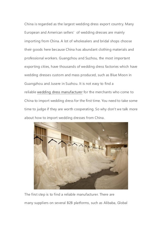 The Attention of Importing Wedding Dresses from China