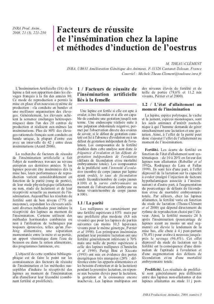 INRA Prod. Anim.,2008, 21 (3), 221-230          Facteurs de réussite                               de l'insémination chez ...