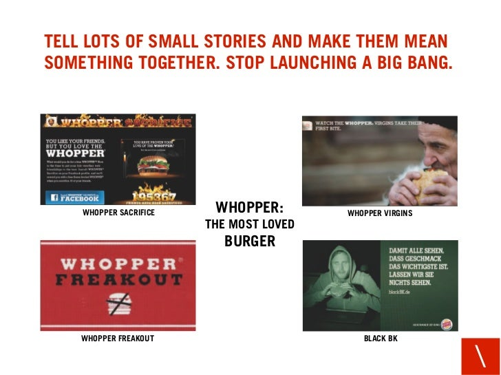 TELL LOTS OF SMALL STORIES AND MAKE THEM MEAN SOMETHING TOGETHER. STOP LAUNCHING A BIG BANG.         WHOPPER SACRIFICE    ...