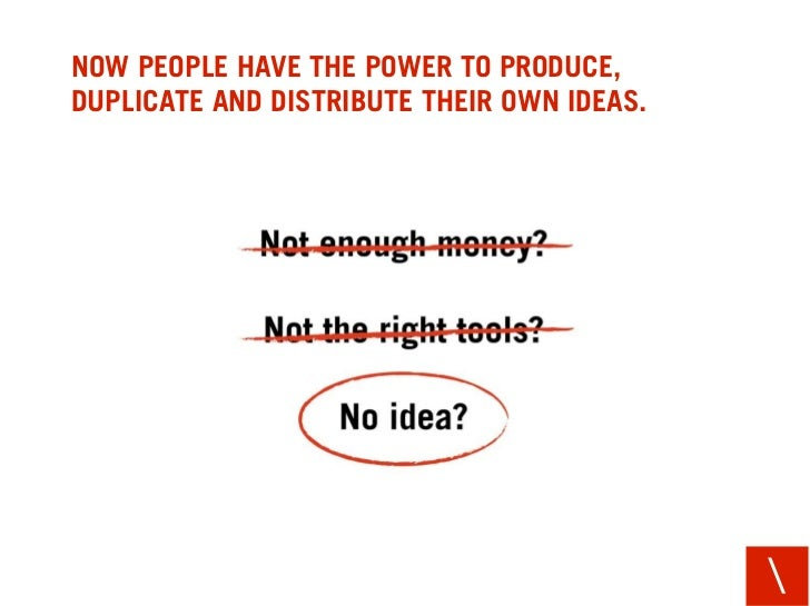 NOW PEOPLE HAVE THE POWER TO PRODUCE, DUPLICATE AND DISTRIBUTE THEIR OWN IDEAS.                                           ...