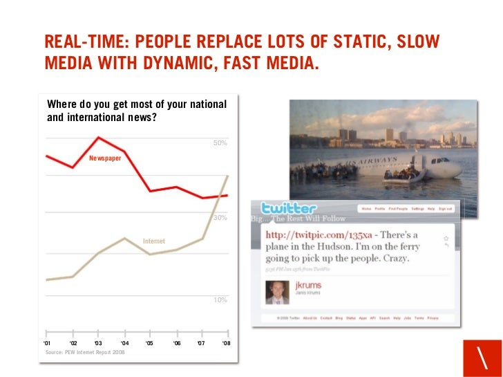 REAL-TIME: PEOPLE REPLACE LOTS OF STATIC, SLOW MEDIA WITH DYNAMIC, FAST MEDIA.   Where do you get most of your national  a...