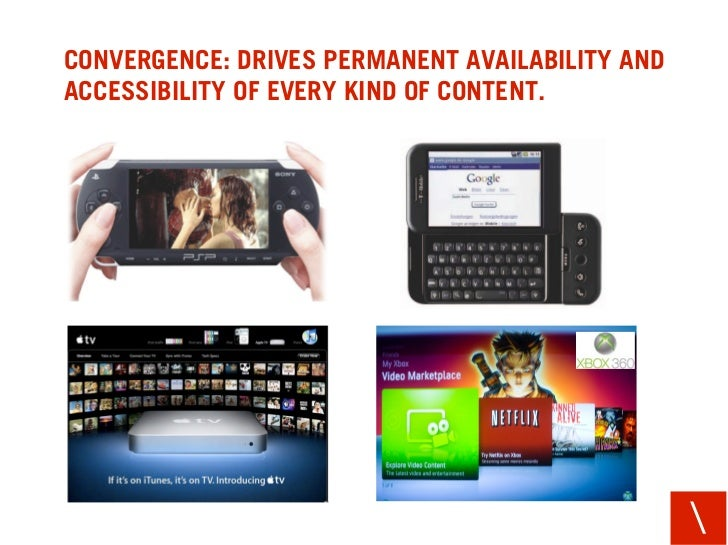 CONVERGENCE: DRIVES PERMANENT AVAILABILITY AND ACCESSIBILITY OF EVERY KIND OF CONTENT.                                    ...