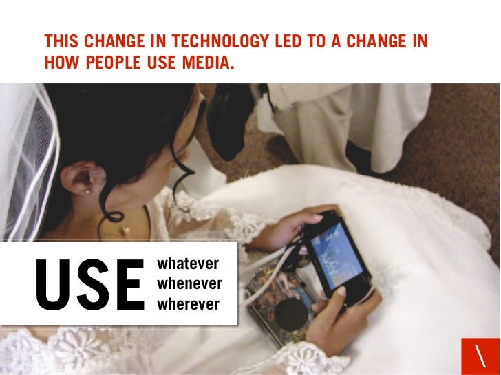 THIS CHANGE IN TECHNOLOGY LED TO A CHANGE IN HOW PEOPLE USE MEDIA.                 whatever  USE         whenever         ...