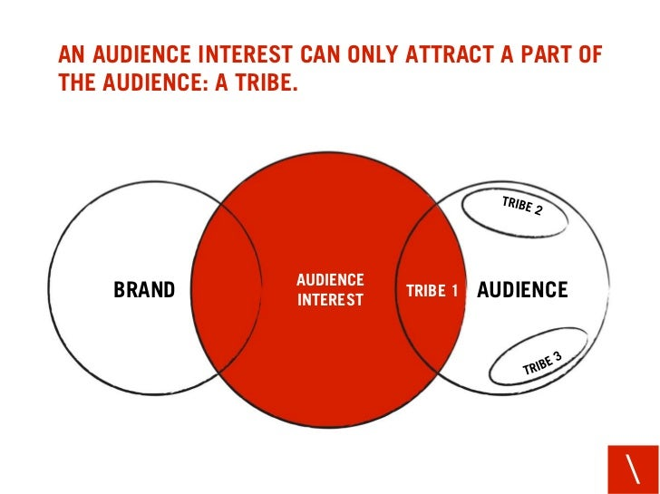 AN AUDIENCE INTEREST CAN ONLY ATTRACT A PART OF THE AUDIENCE: A TRIBE.                         AUDIENCE     BRAND         ...