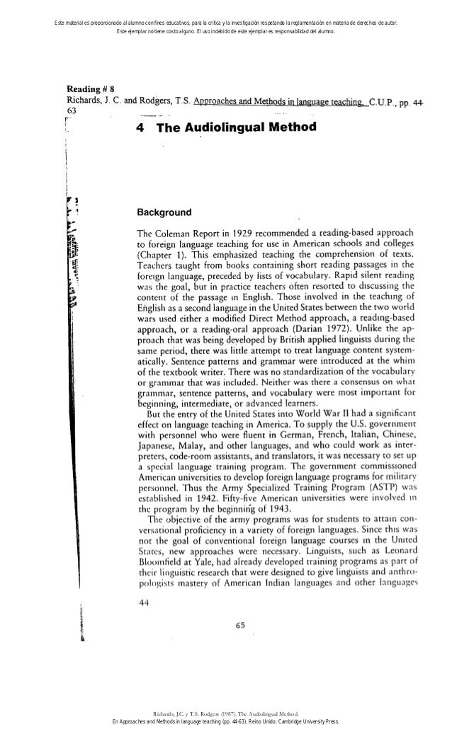 Reading # 8 Richards, J. C. and Rodgers, T.S. Approaches and Methods in laneuaee teachin~.C.U.P., pp. 44 63 4 The Audiolin...