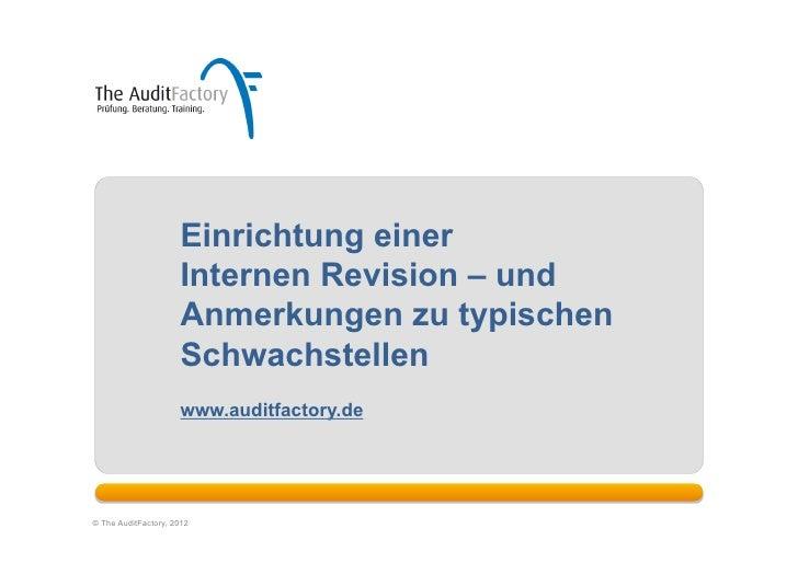 Einrichtung einer                     Internen Revision – und                     Anmerkungen zu typischen                ...