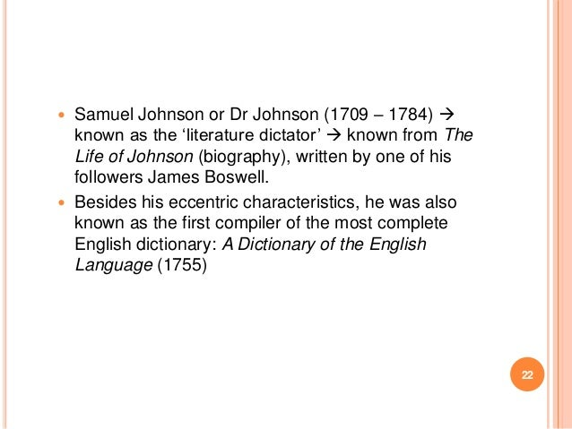 """Samuel Johnson or Dr Johnson (1709 – 1784)  known as the """"literature dictator""""  known from The Life of Johnson (biograph..."""