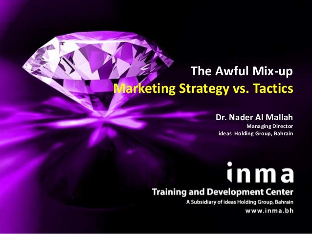 The Awful Mix-upMarketing Strategy vs. Tactics                 Dr. Nader Al Mallah                           Managing Dire...