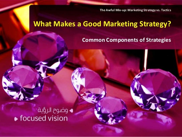 The Awful Mix-up: Marketing Strategy vs. TacticsWhat Makes a Good Marketing Strategy?             Common Components of Str...