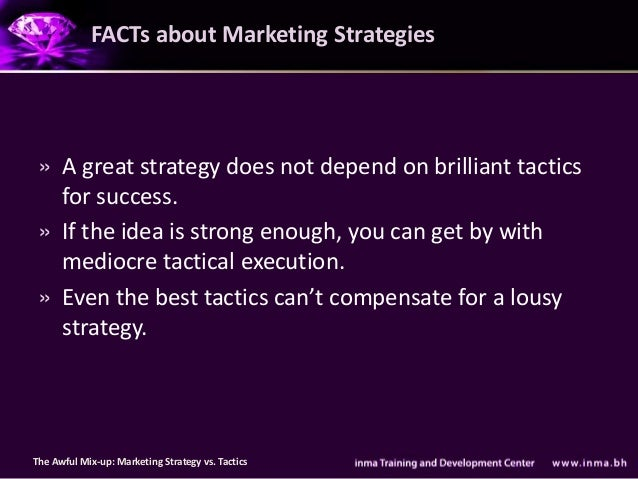 FACTs about Marketing Strategies » A great strategy does not depend on brilliant tactics   for success. » If the idea is s...