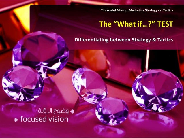 """The Awful Mix-up: Marketing Strategy vs. Tactics          The """"What if…?"""" TESTDifferentiating between Strategy & Tactics"""