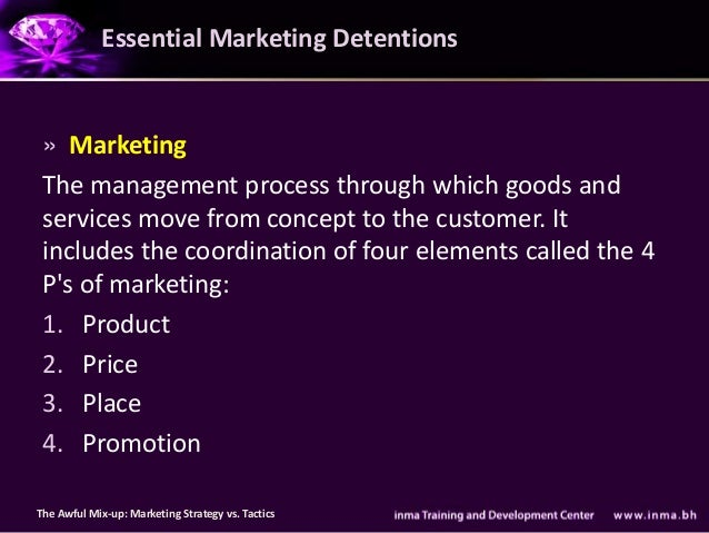 Essential Marketing Detentions » Marketing The management process through which goods and services move from concept to th...