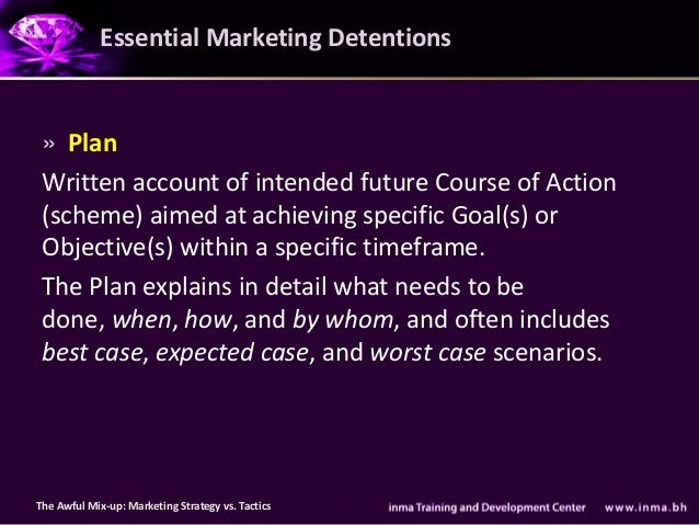 Essential Marketing Detentions » Plan Written account of intended future Course of Action (scheme) aimed at achieving spec...