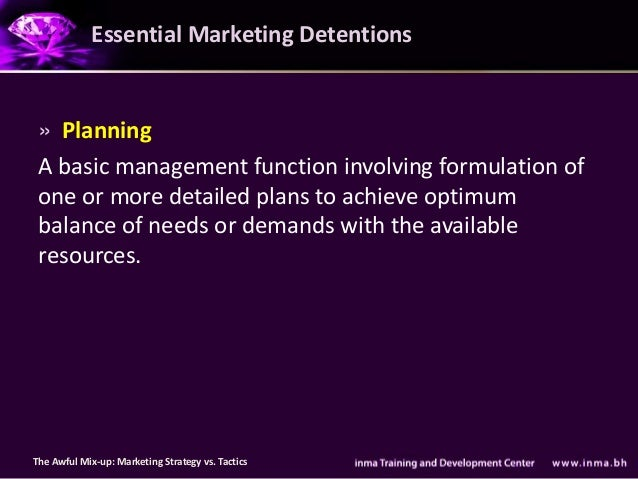 Essential Marketing Detentions » Planning A basic management function involving formulation of one or more detailed plans ...