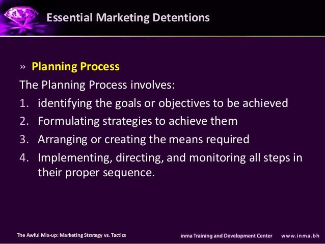 Essential Marketing Detentions » Planning Process The Planning Process involves: 1. identifying the goals or objectives to...