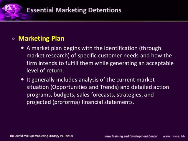 Essential Marketing Detentions » Marketing Plan         A market plan begins with the identification (through          ma...