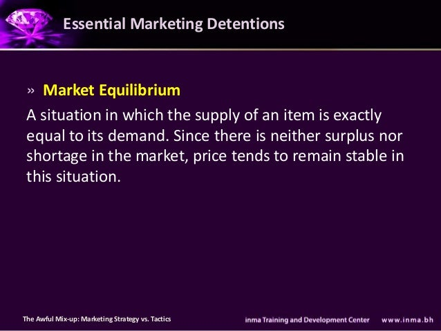 Essential Marketing Detentions » Market Equilibrium A situation in which the supply of an item is exactly equal to its dem...