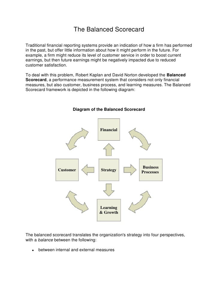 The Balanced Scorecard<br />Traditional financial reporting systems provide an indication of how a firm has performed in t...