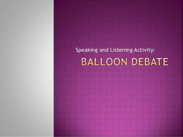 Speaking and Listening Activity: