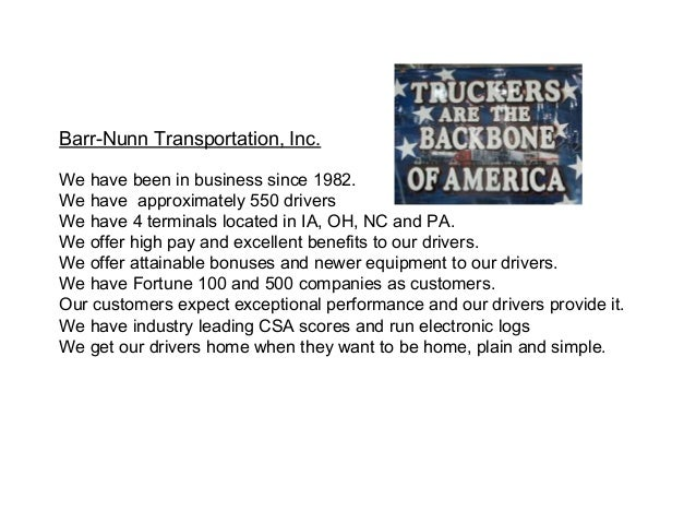 What We Offer At Barr Nunn Transportation