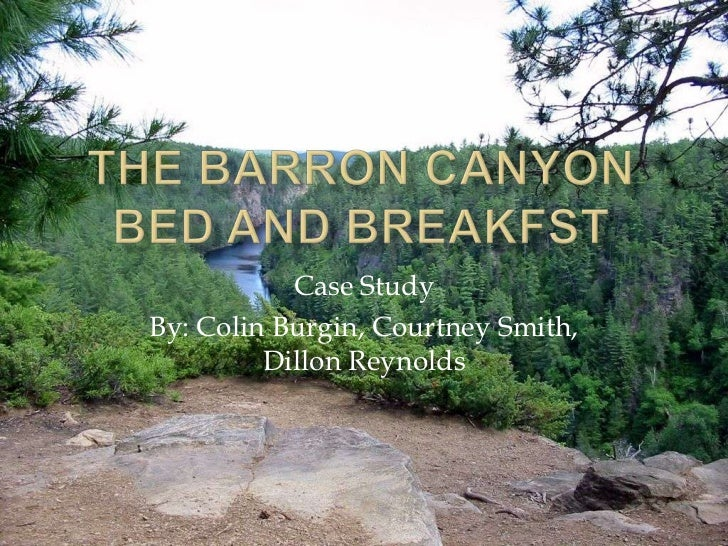 The Barron canyon bed and breakfst<br />Case Study<br />By: Colin Burgin, Courtney Smith, Dillon Reynolds<br />