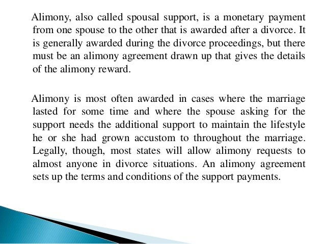The basic elements of an alimony agreement 2 alimony agreements platinumwayz