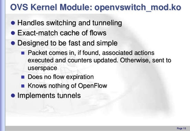 OVS Kernel Module: openvswitch_mod.ko  Handles switching and tunneling  Exact-match cache of flows  Designed to be fast ...