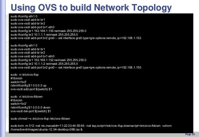 Using OVS to build Network Topology sudo ifconfig eth1 0 sudo ovs-vsctl add-br br1 sudo ovs-vsctl add-br br2 sudo ovs-vsct...
