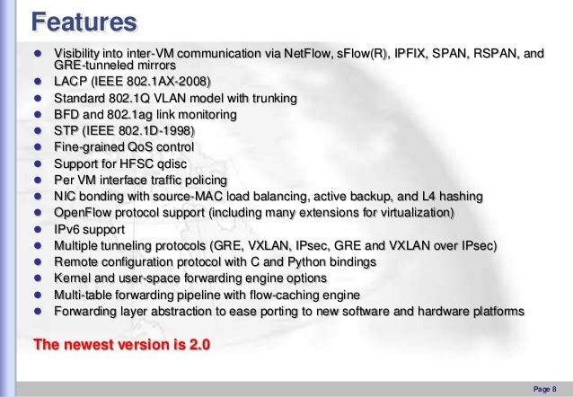 Features                  Visibility into inter-VM communication via NetFlow, sFlow(R), IPFIX, SPAN, RSPAN...