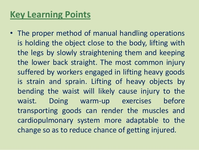 manual handling warm up exercises