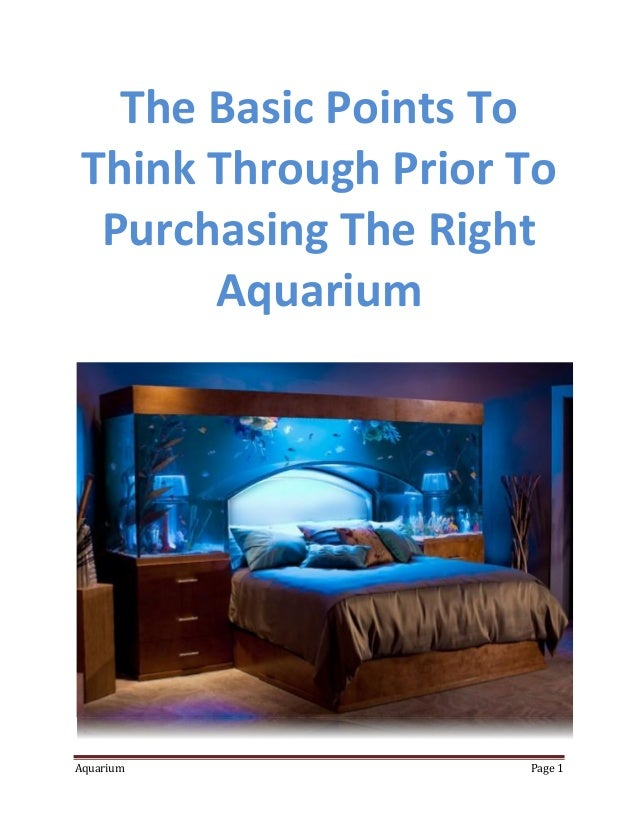The Basic Points ToThink Through Prior To Purchasing The Right      AquariumAquarium            Page 1