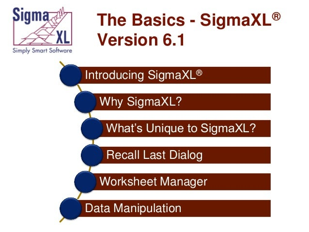 The Basics - SigmaXL® Version 6.1 Introducing SigmaXL® Why SigmaXL?  What's Unique to SigmaXL? Recall Last Dialog Workshee...