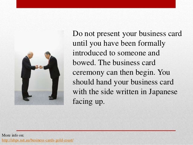 The basics of business card etiquette in japan 6 do not present your business card reheart Image collections