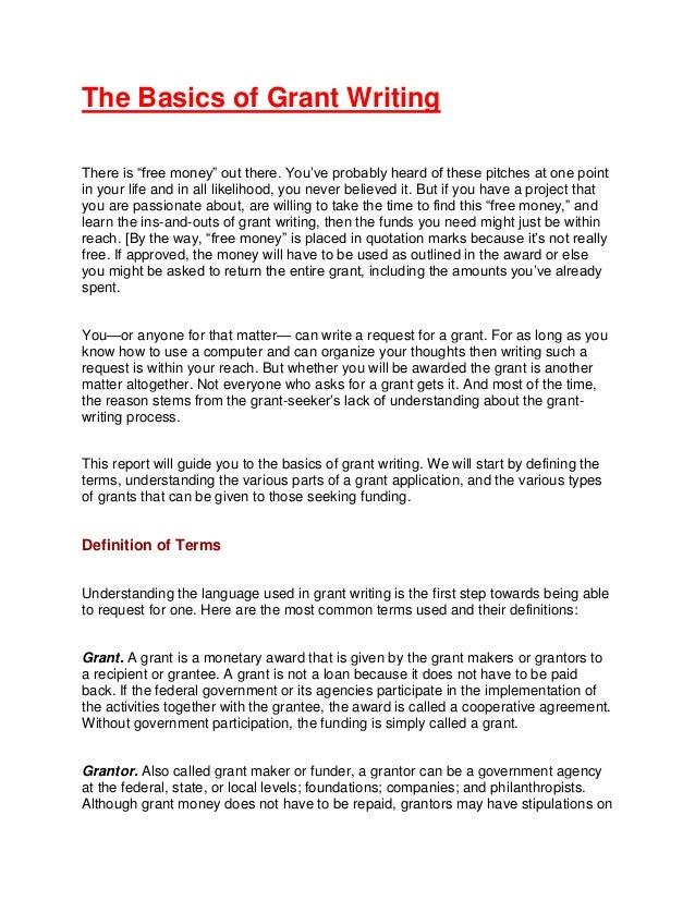 The Basics Of Grant Writing